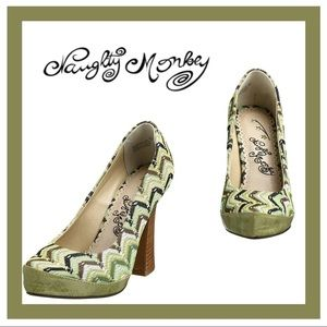 Naughty Monkey T-Cup Green Leather/Fabric Pump 6
